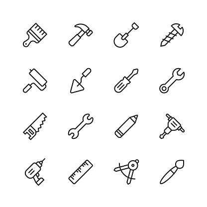 Work Tools Line Icons. Editable Stroke. Pixel Perfect. For Mobile and Web. Contains such icons as Wrench, Saw, Work Tools, Screwdriver, Screw, Paintbrush, Shovel, Chainsaw, Ruler, Axe, Hammer.