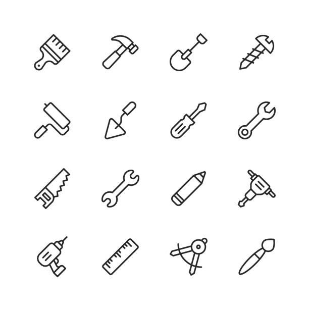 work tools line icons. editable stroke. pixel perfect. for mobile and web. contains such icons as wrench, saw, work tools, screwdriver, screw, paintbrush, shovel, chainsaw, ruler, axe, hammer. - tools stock illustrations