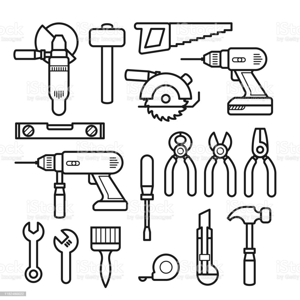 Work Tools Line Icons Puncher Drill Wrench Plane Saw Pliers And
