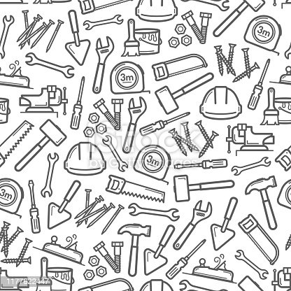 Work tools seamless pattern background of house repair and construction vector design. Screwdriver, hammer and spanner, paint, brush and trowel, tape measure, wrench, screws and hard hat backdrop