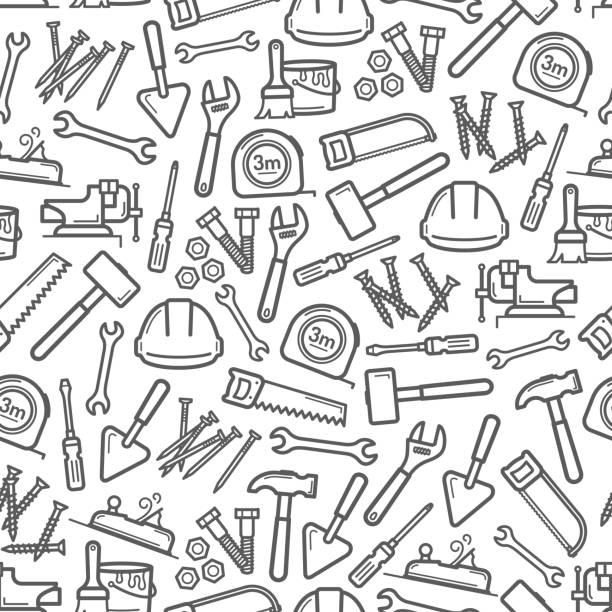 çekiç, tornavida, anahtarlı iş aletleri deseni - tools stock illustrations