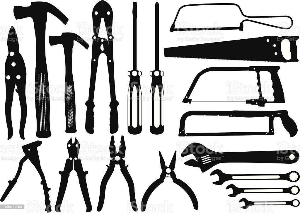 Work tools silhouette royalty-free work tools silhouette stock vector art & more images of adjustable wrench