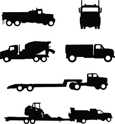 Work truck silhouette illustrations