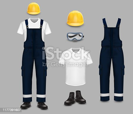 Professional work wear and uniform set, vector isolated illustration. Realistic protective coverall with reflective stripes, t-shirt, boots, safety goggles and yellow helmet.