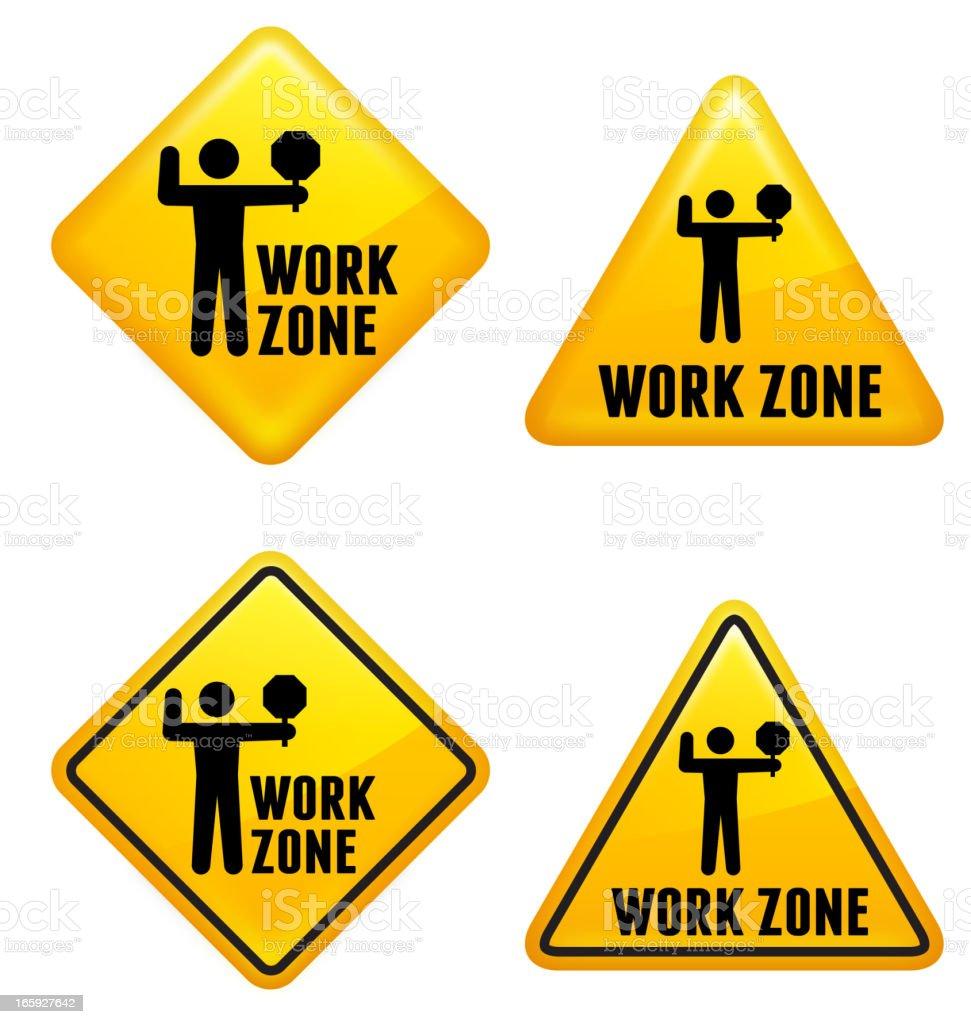 Work Zone Street Sign vector art illustration
