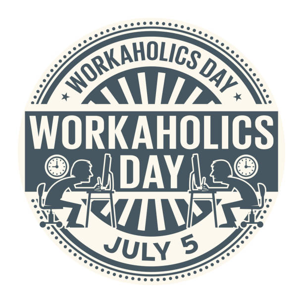 Workaholics Day stamp Workaholics Day,  July 5, rubber stamp, vector Illustration overworked stock illustrations