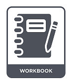 istock workbook icon vector on white background, workbook trendy filled icons from Business and analytics collection 1089802216