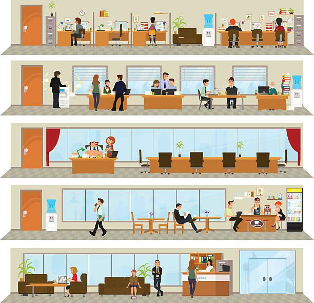 illustrations, cliparts, dessins animés et icônes de journée de travail dans un immeuble de bureaux - hall d'accueil