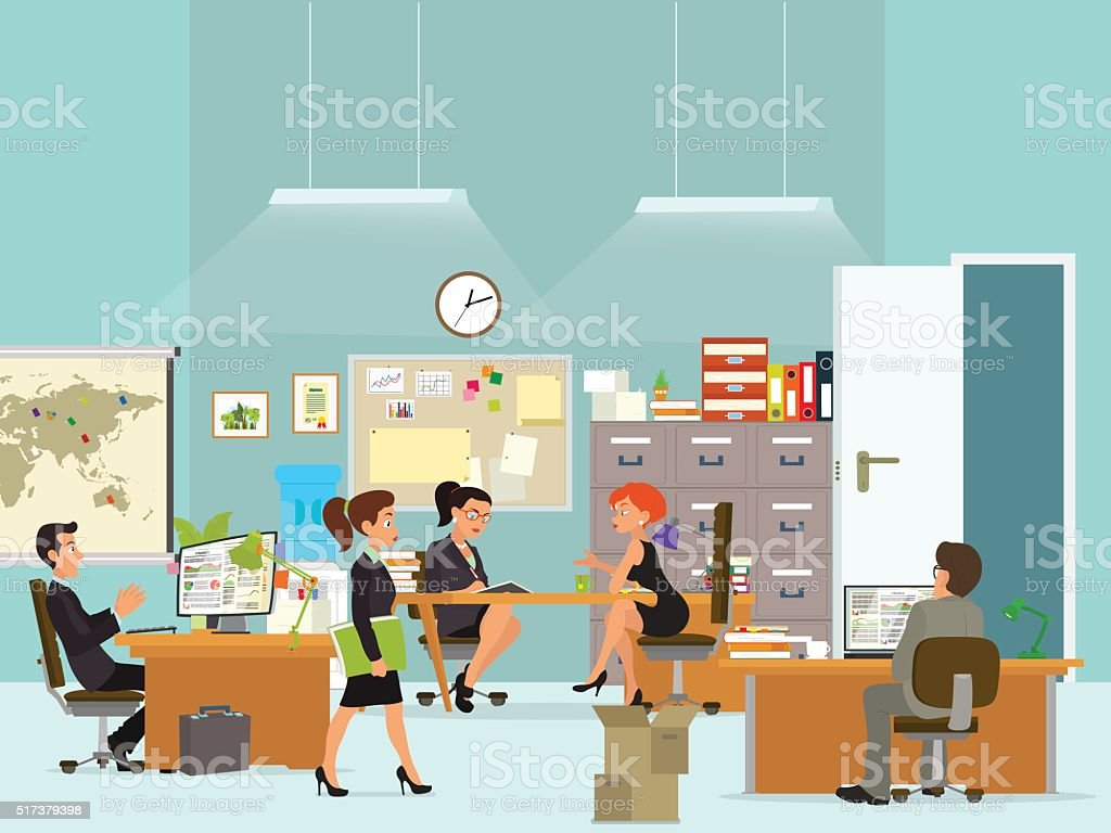 workday in an office building vector art illustration