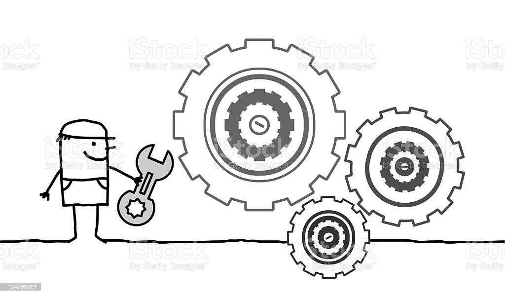 worker & gear royalty-free stock vector art