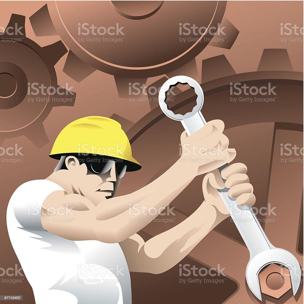 worker and cogwheels royalty-free stock vector art