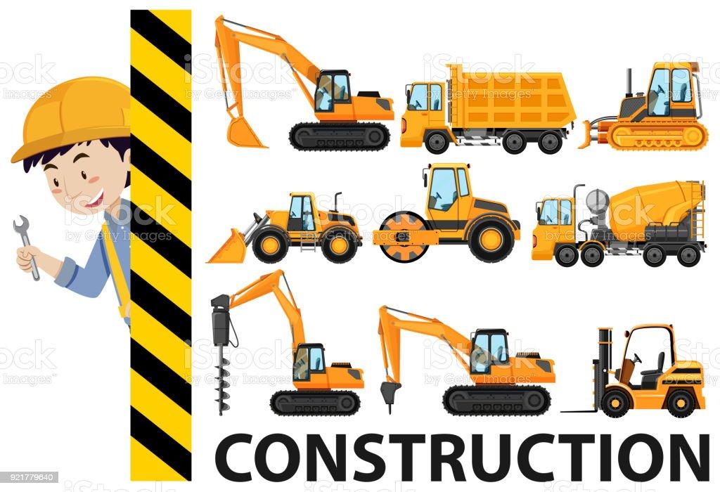 Worker and construction trucks vector art illustration