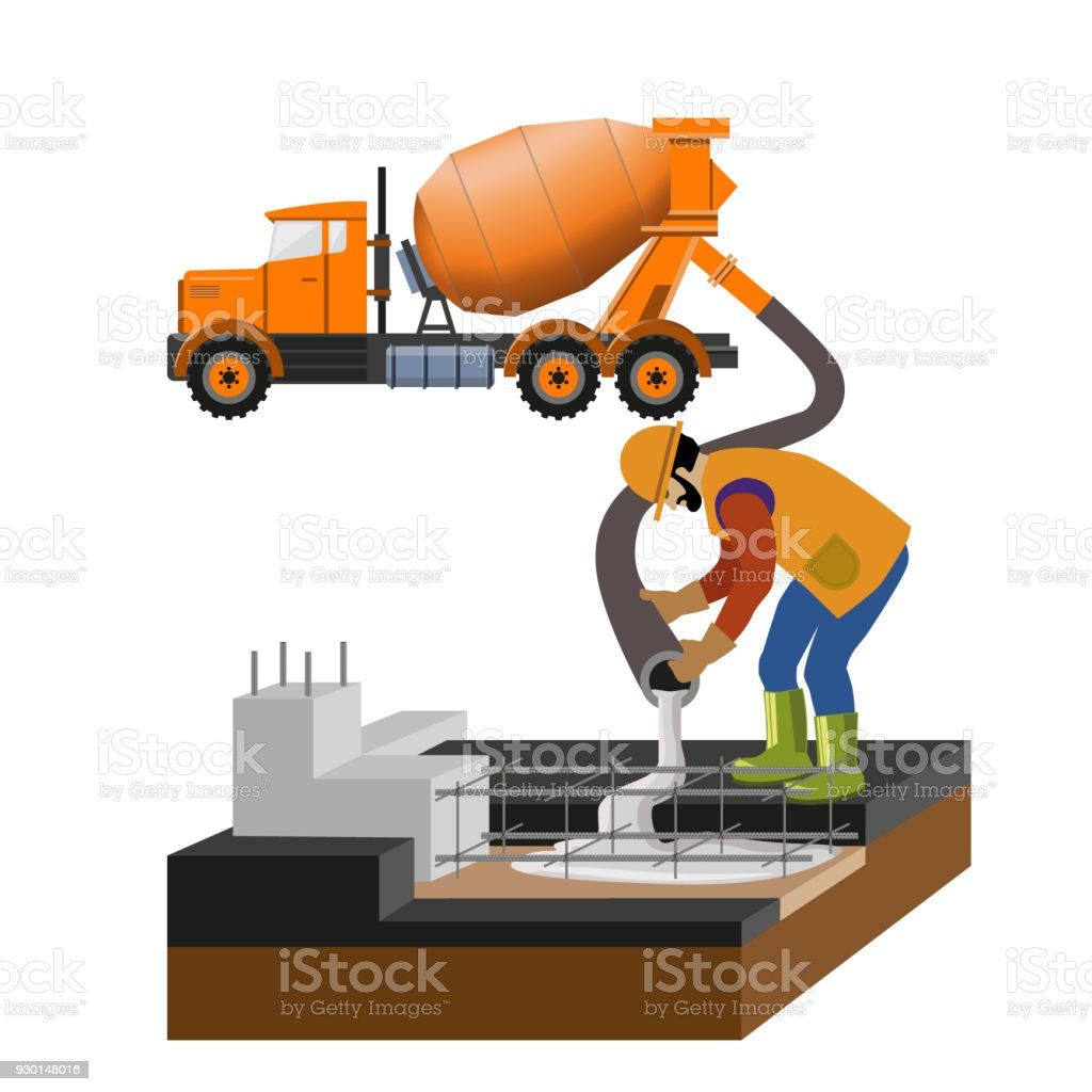 Worker are pouring concrete from mixer truck vector art illustration