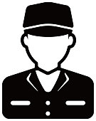 Worker avatar icon illustration (upper body) / blue collar worker, factory worker, janitor, service man