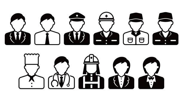 illustrazioni stock, clip art, cartoni animati e icone di tendenza di worker avatar icon illustration set (upper body) / business person, blue collar worker, police man, cook , doctor etc. - solo giapponesi
