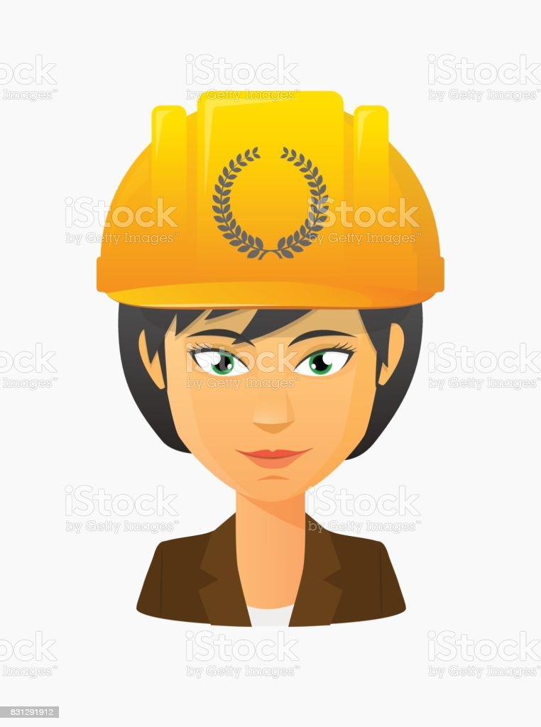 Worker avatar with  a laurel crown sign vector art illustration