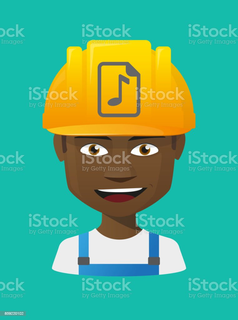 Worker avatar with  a music score icon vector art illustration
