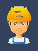 Illustration of a cartoon worker avatar with a working helmet and  two hands giving and receiving  or protecting