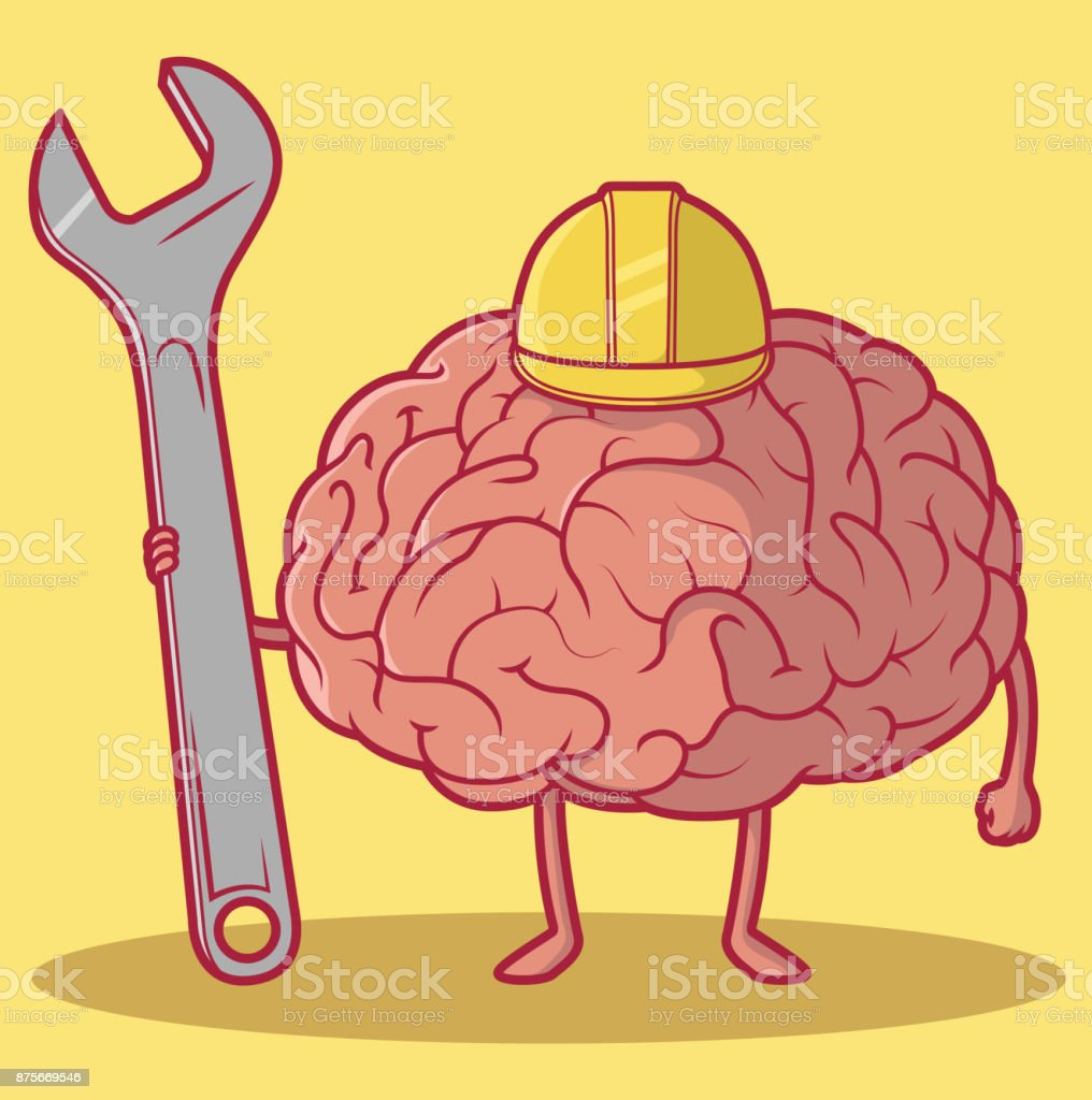 Worker Brain vector illustration. Human growth concept design vector art illustration