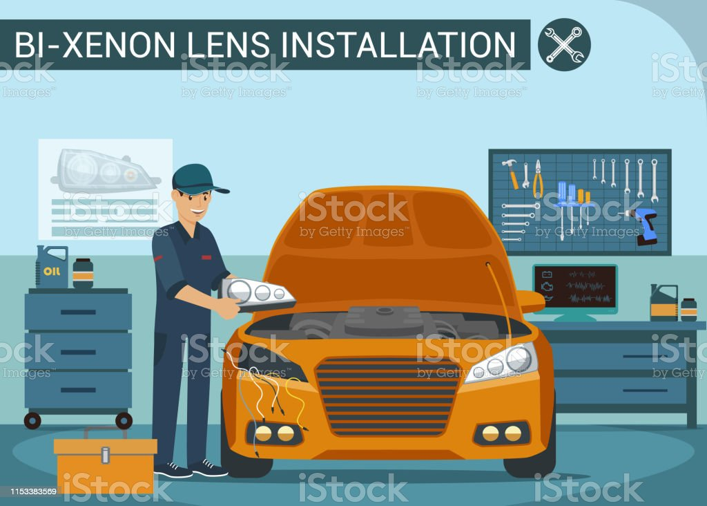 Worker Changes Headlights In Car Service Vector Stock Illustration Download Image Now Istock