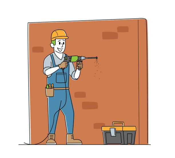 작업자 캐릭터 드릴 벽. 주택 수리 서비스, 건설, 개조 및 리모델링 작업, 도구를 갖춘 자물쇠 장인 - 모자 모자류 stock illustrations