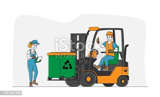 Worker Character Driving Forklift Truck with Garbage for Waste Processing. Technological Process. Recycling and Storage of Trash for Further Disposal. Manufacturing. Linear People Vector Illustration