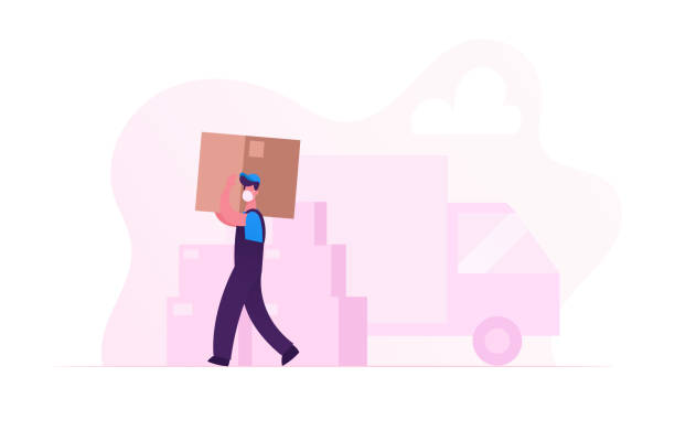 worker character in medical mask carry cardboard box on unloading truck. relocation and moving into new house during covid19 pandemic. delivery company loader service. cartoon vector illustration - essential workers stock illustrations