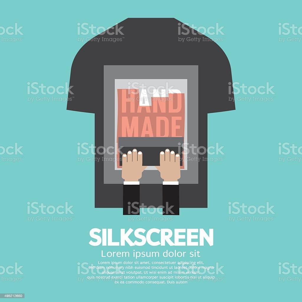 Worker Do Silkscreening On T-Shirt. vector art illustration
