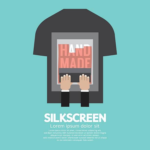 Worker Do Silkscreening On T-Shirt. Worker Do Silkscreening On T-Shirt Vector Illustration. silk screen stock illustrations