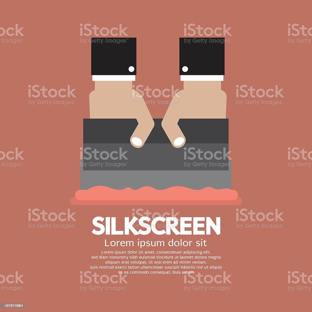 Worker Do Silkscreening. vector art illustration