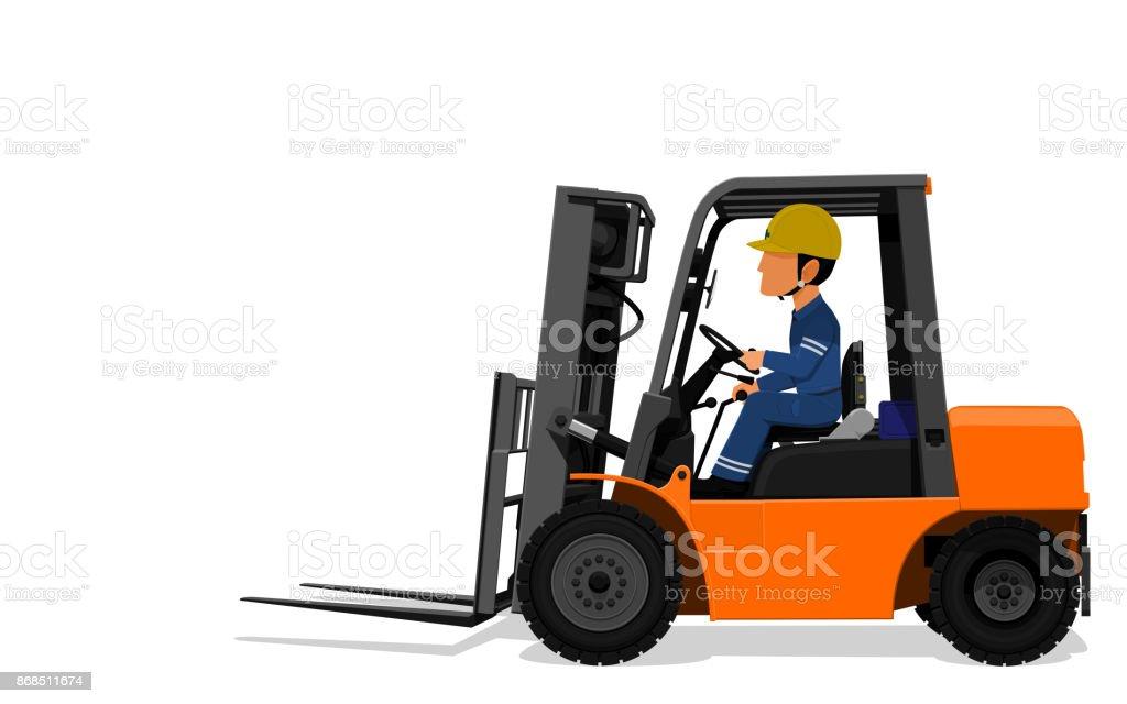 Worker drive Fork lift vector art illustration
