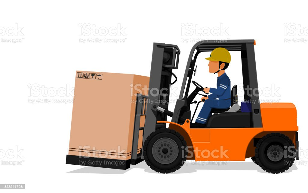 Worker drive Fork lift with paper crate vector art illustration