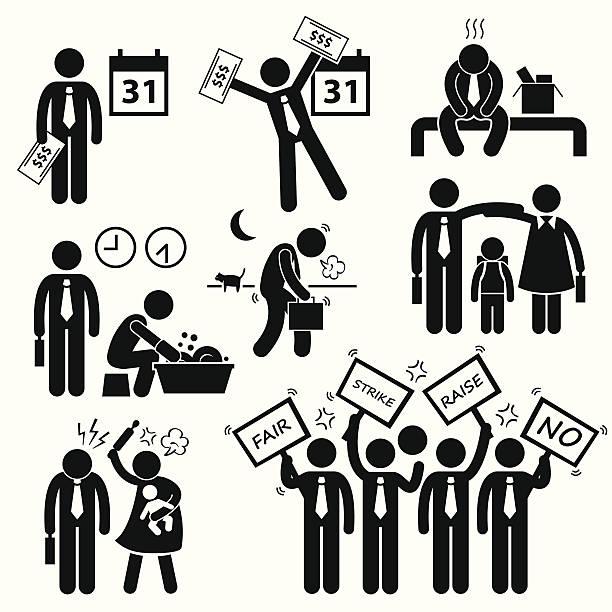 работник работник дохода оклад финансовые проблемы cliparts - unemployment stock illustrations