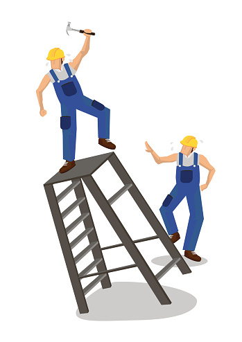 Worker falling from ladder. Workplace accident or construction safety concept.