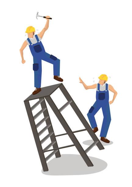 bildbanksillustrationer, clip art samt tecknat material och ikoner med arbetare som faller från stegen. arbetsplatsolycka eller konstruktionssäkerhetskoncept. - construction workwear floor
