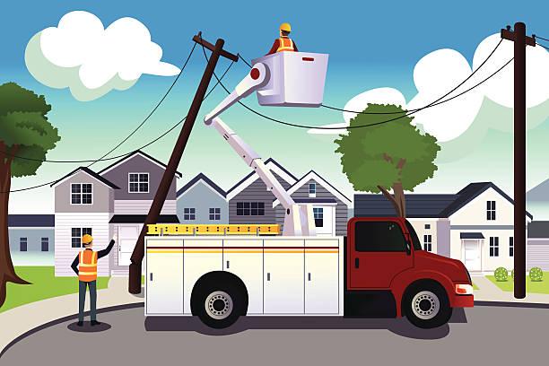 Worker fixing broken power lines vector art illustration