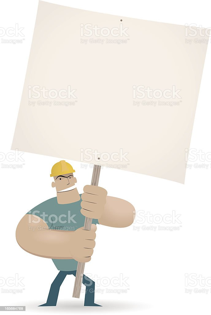 Worker (Labor) holding a blank sign for your message vector art illustration