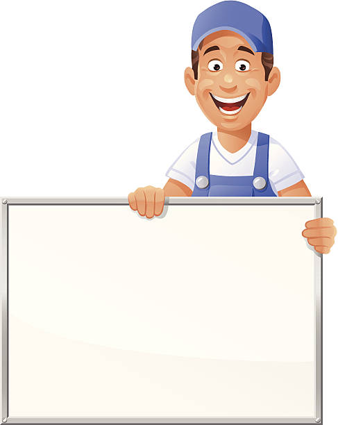 Worker Holding a Blank Sign A cheerful worker in blue overalls holding a blank white sign. EPS 8, fully editable and labeled in layers.  pipefitter illustrations stock illustrations