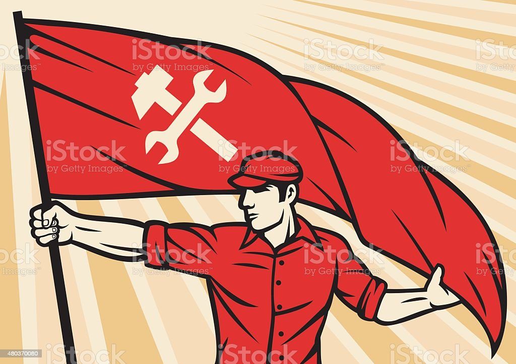 worker holding a flag - industry poster vector art illustration