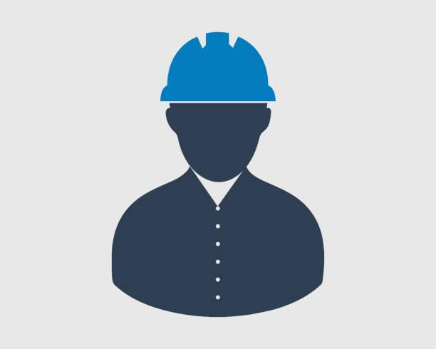 ilustraciones, imágenes clip art, dibujos animados e iconos de stock de icono de trabajador. símbolo masculino con casco en la cabeza. - obrero de la construcción