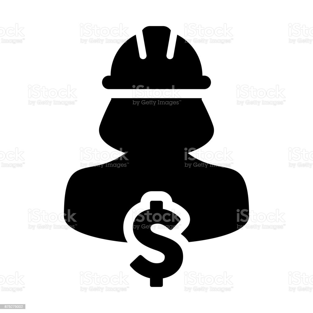 Worker Icon Vector Dollar Sign Symbol With Female Person