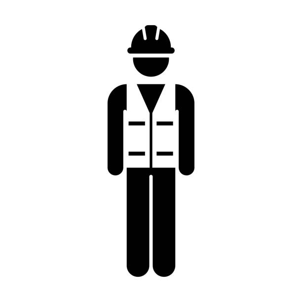 worker icon vector male service person of building construction workman with hardhat helmet and jacket in glyph pictogram symbol - construction worker stock illustrations