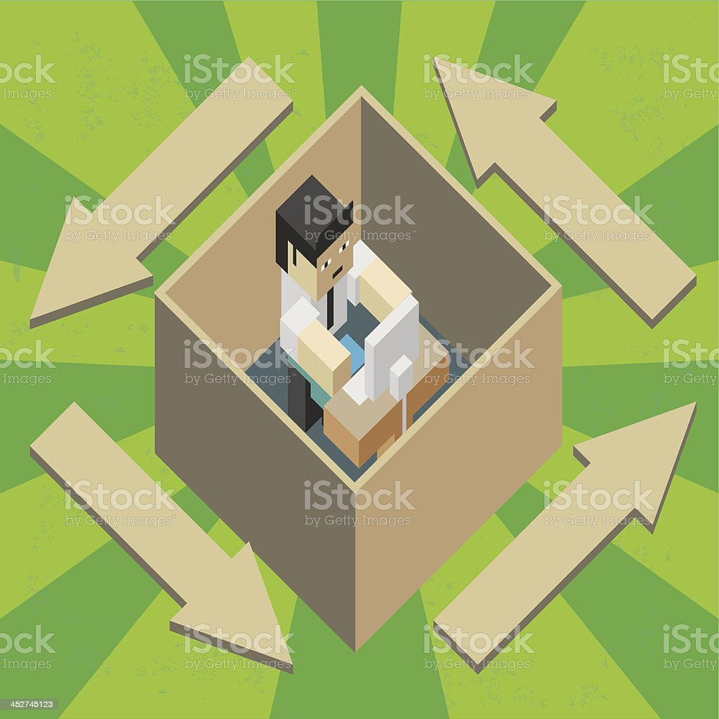 Worker in a box royalty-free worker in a box stock vector art & more images of box - container