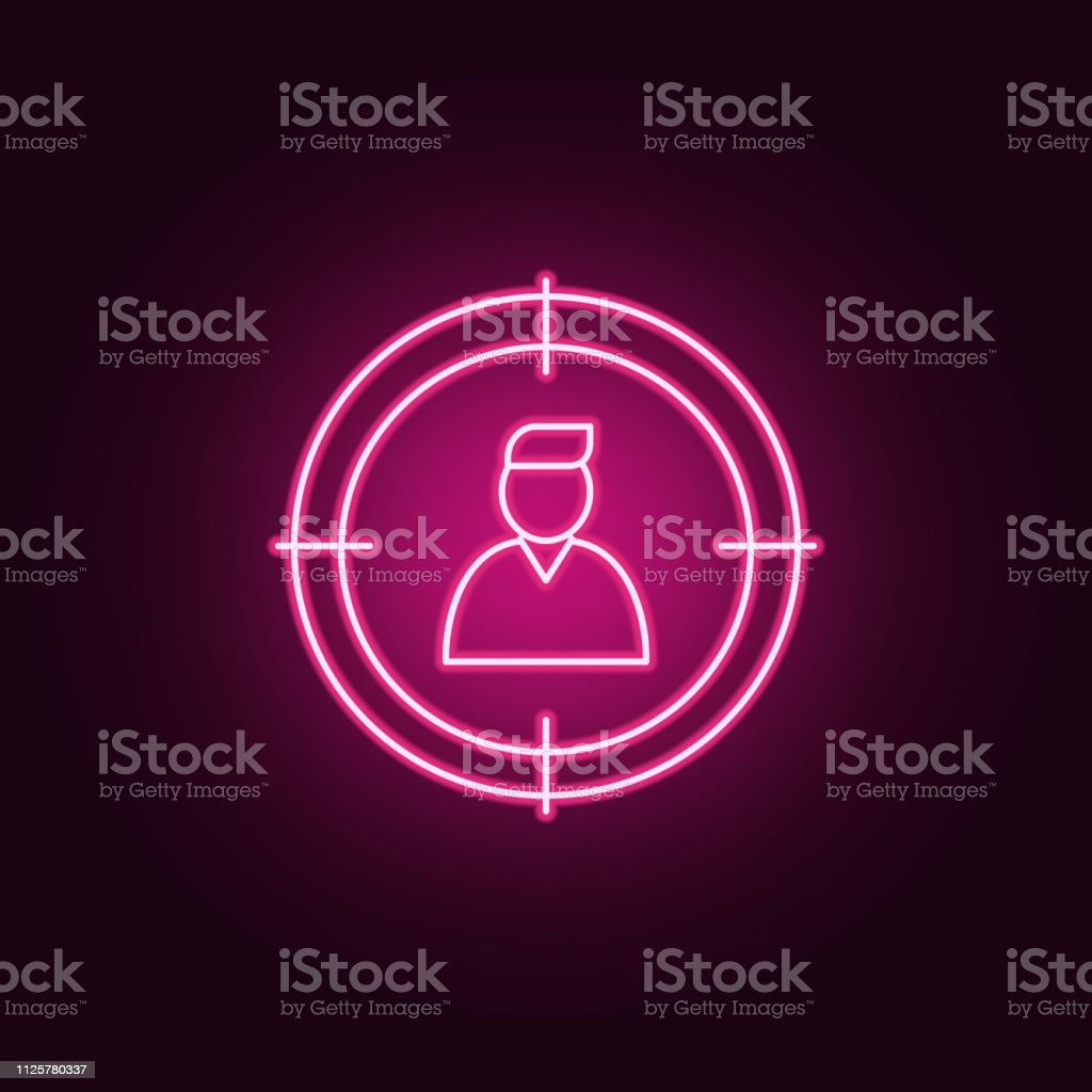 worker in center of sight icon. Elements of interview in neon style icons. Simple icon for websites, web design, mobile app, info graphics