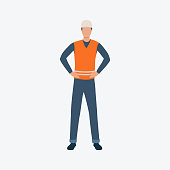 Worker in orange waistcoat flat icon. Builder, helmet, safety vest. Labor concept. Can be used for topics like construction site, building work, blue collar