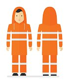 Worker in protective orange raincoat with reflective tape