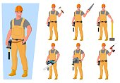Set of builders in special clothes with various tools. Workers with safety equipment. Jumpsuit, safety helmet and gloves. Vector illustration in a flat style.