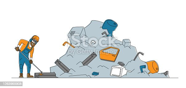 Worker in Uniform, Protective Glasses and Hardhat Welding Iron Rail at Huge Pile of Metal Scrap on Junkyard. Manufacturing Process, Scrapmetal Recycling and Reuse. Cartoon Flat Vector Illustration
