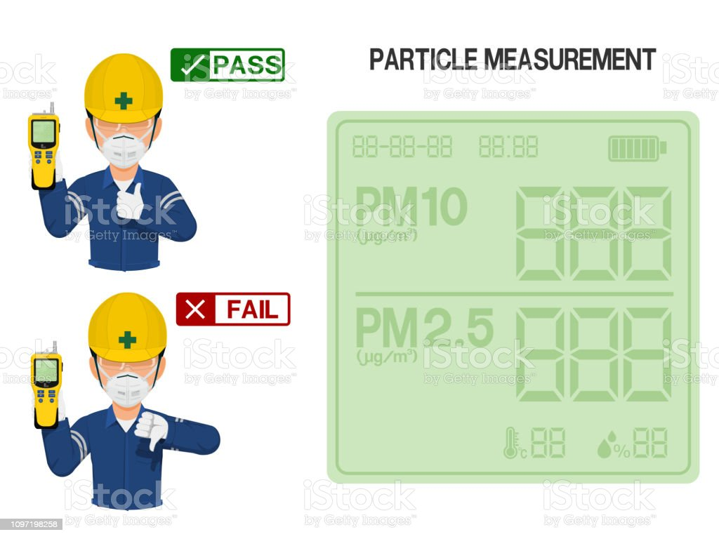 Worker is presenting result of Particle measurement measurement.On...