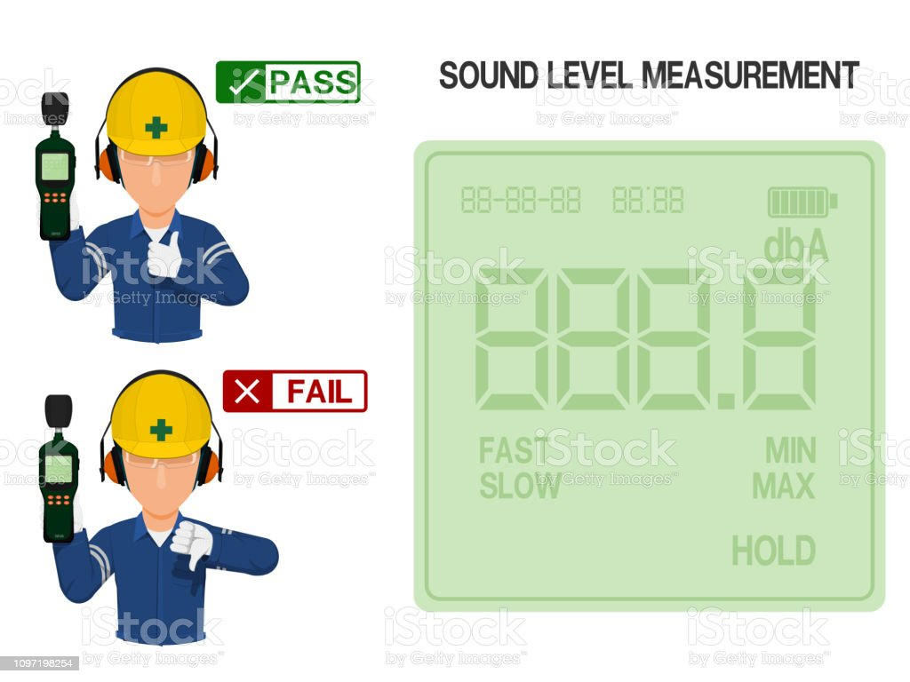 Worker is presenting result of sound level measurement.On the display...
